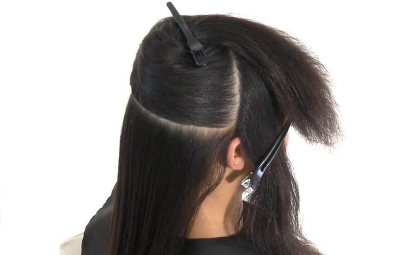 تقسیم بندی موها برای نصب اکستنشن