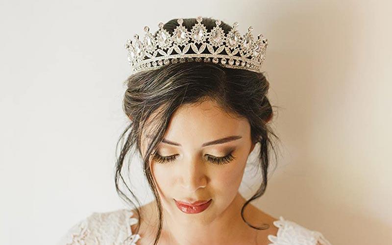 مدل موی عروس با تاج فرحی