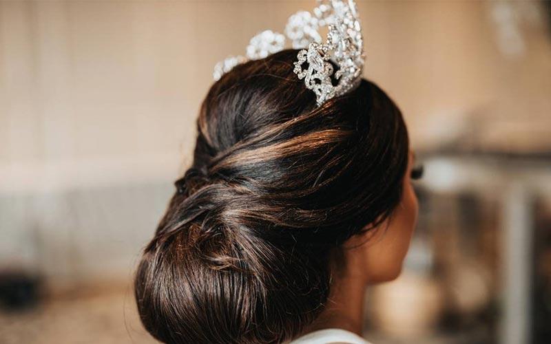 مدل مو عروس با تاج ملکه