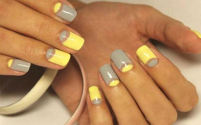 طراحی ناخن زرد و طوسی ۱۴۰۰
