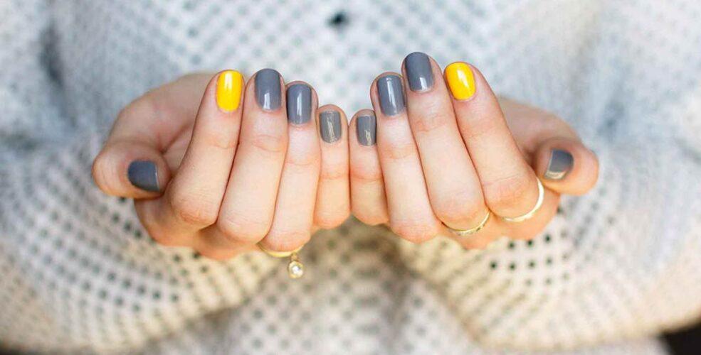 طراحی ناخن طوسی زرد