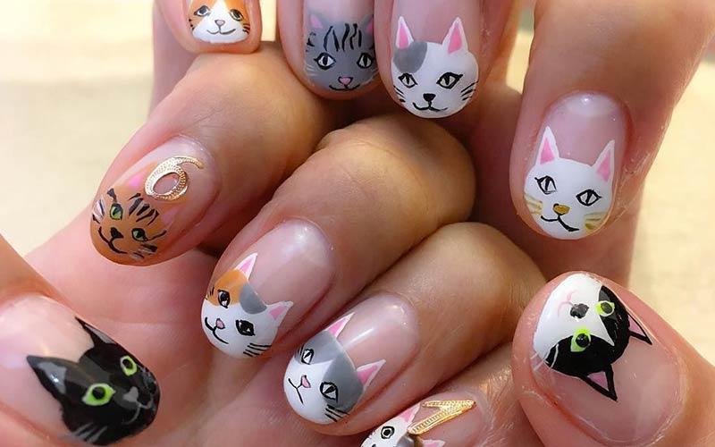 طراحی ناخن فانتزی گربه
