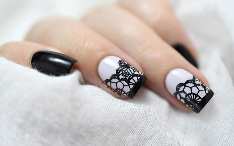 عکس دیزاین ناخن سیاه و سفید