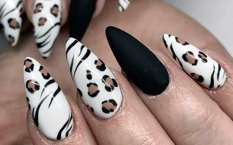 طرح ناخن پلنگی با زمینه سفید