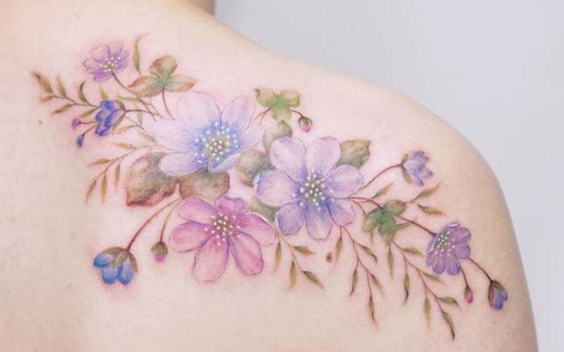 طرح تاتو شکوفه های رنگارنگ