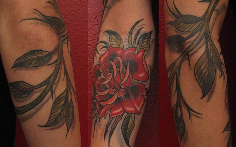 طرح تاتو گل رز قرمز