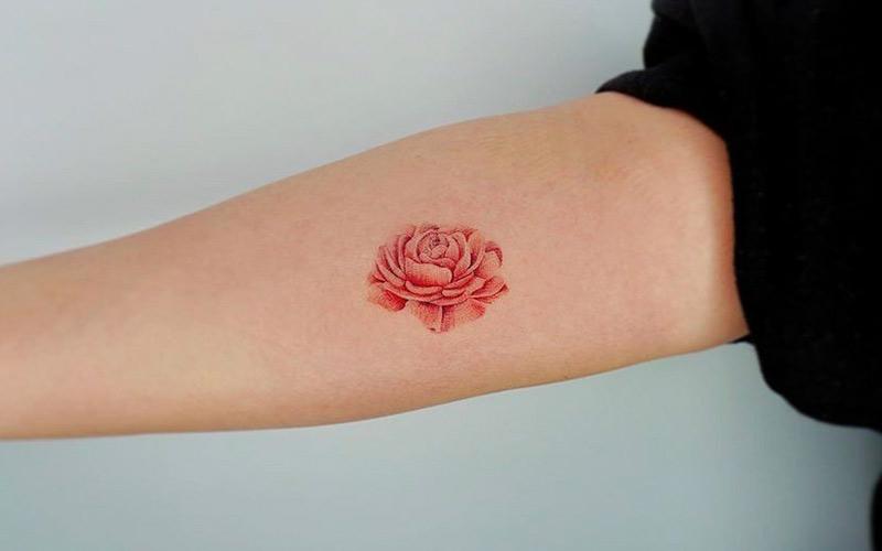 طرح تتو گل رز ساده