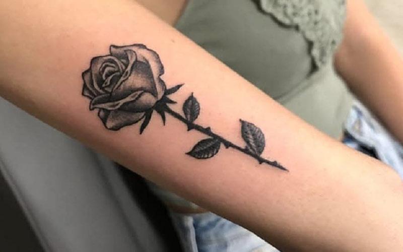 طرح تاتو گل رز روی دست