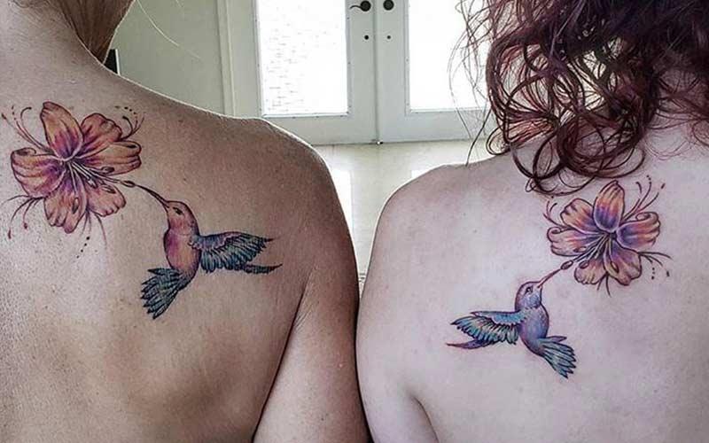 طرح تاتو گل و پرنده