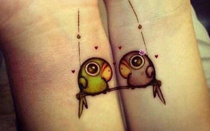 طرح تاتو دو پرنده عاشق