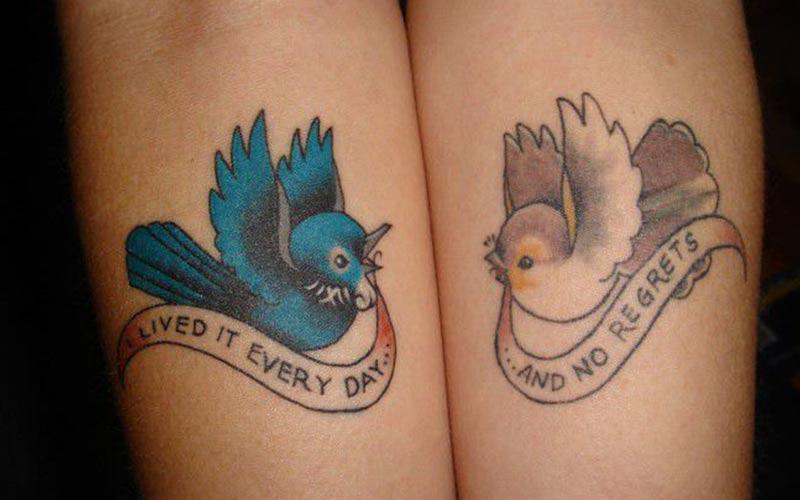 طرح تتو دو پرنده