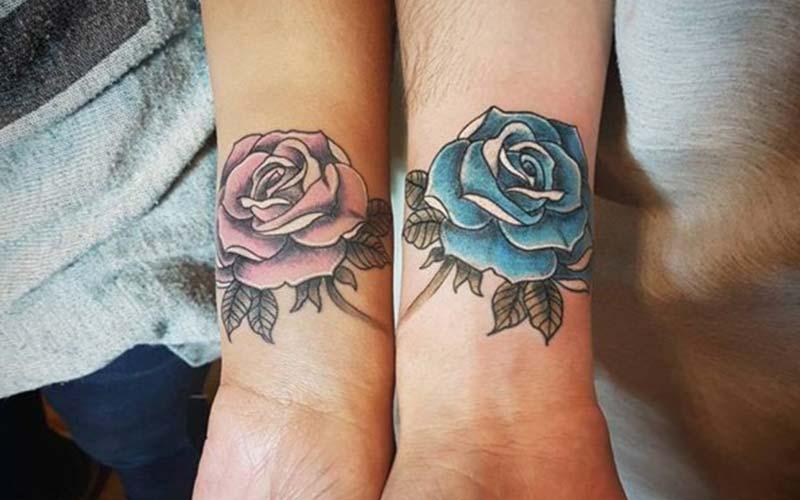 طرح تاتو گل رز روی مچ دست