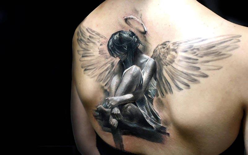طرح تاتو سه بعدی فرشته