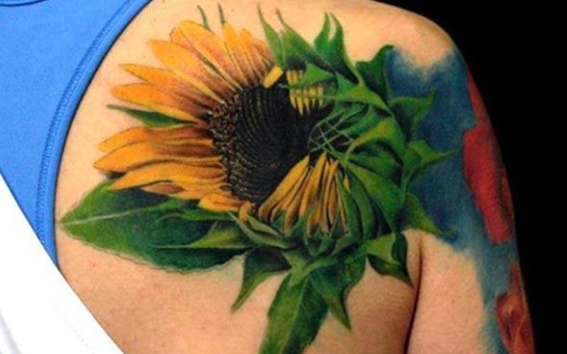 تاتو سه بعدی گل آفتابگردان