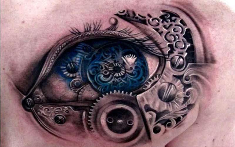 طرح تاتو سه بعدی چشم آبی