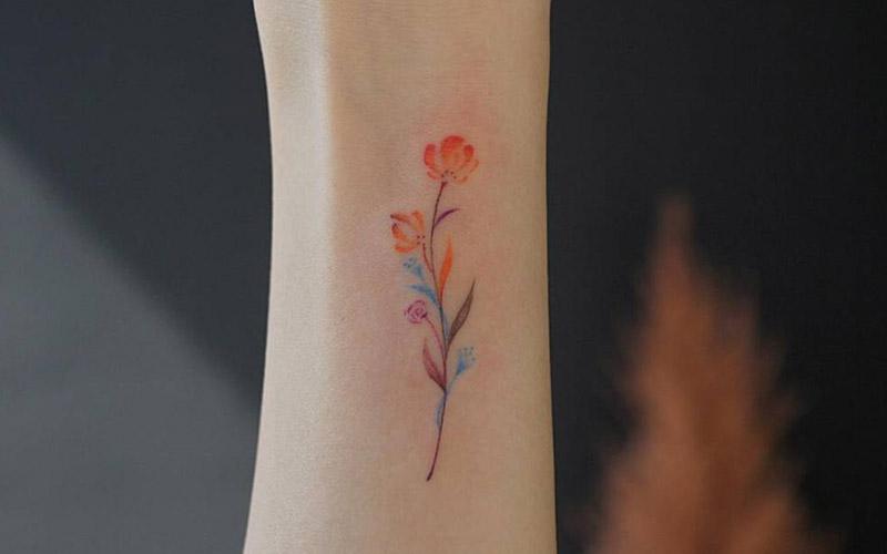 طرح تاتو شاخه گل ساده