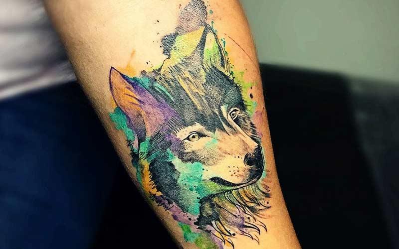 خالکوبی گرگ رنگی