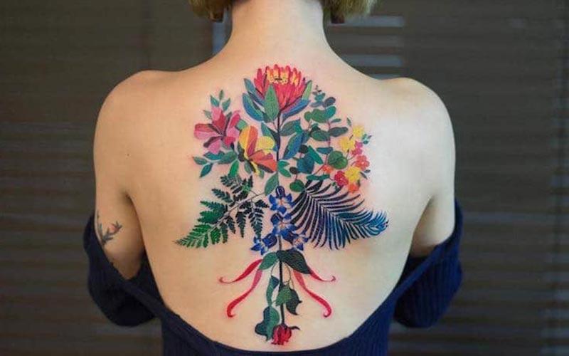 تاتو گل های رنگارنگ