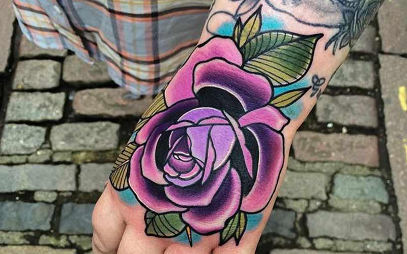 تاتو گل رز بنفش
