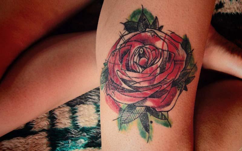 نقاشی تاتو گل رز