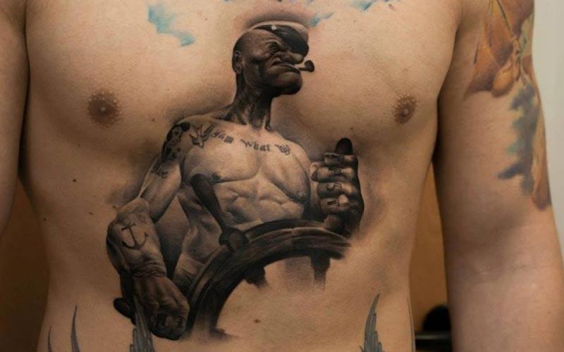 طرح تاتو سه بعدی روی بدن