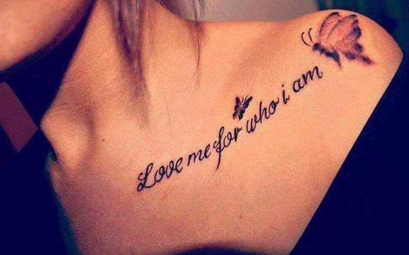تتو نوشته با پروانه