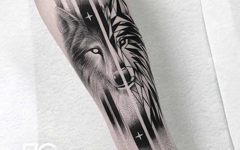 تاتو گرگ سیاه و سفید