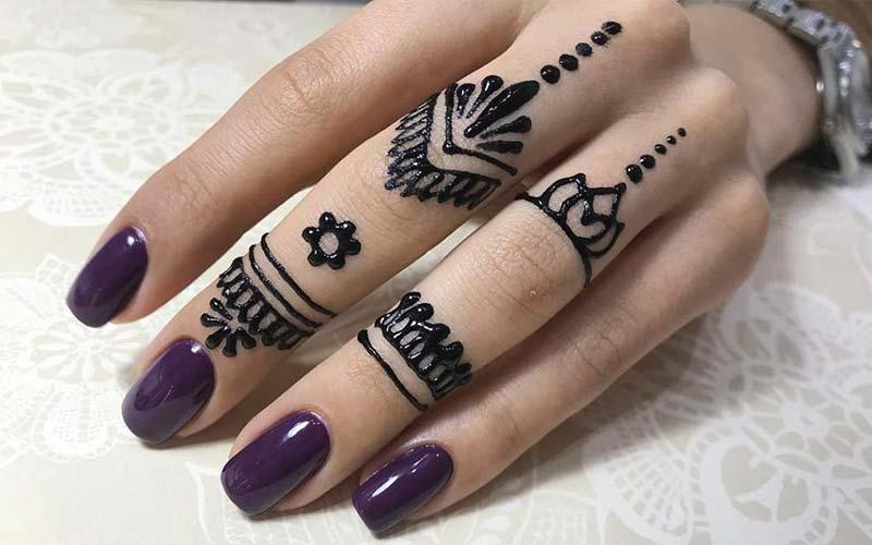 طرح حنا روی انگشت دست