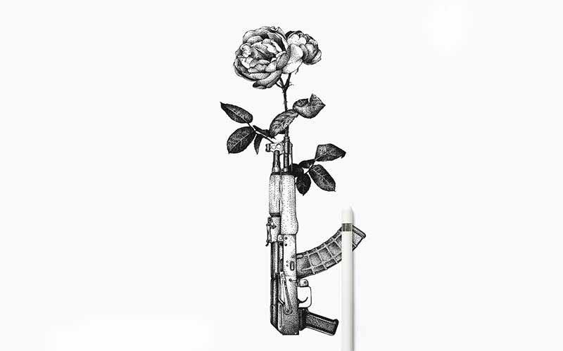 طرح تاتو خام تفنگ و گل
