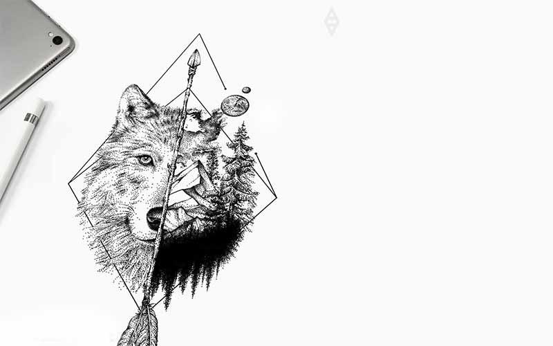 طرح تاتو خام گرگ