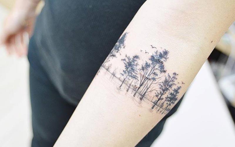 خالکوبی درخت روی دست