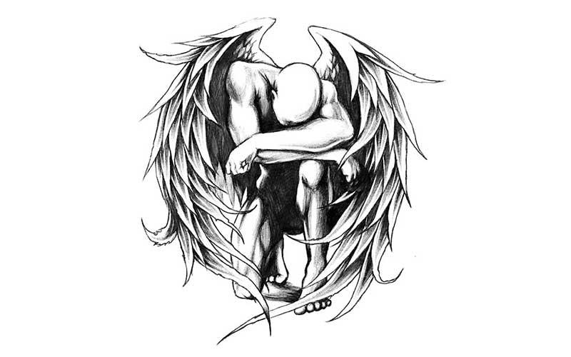 طرح تاتو خام فرشته