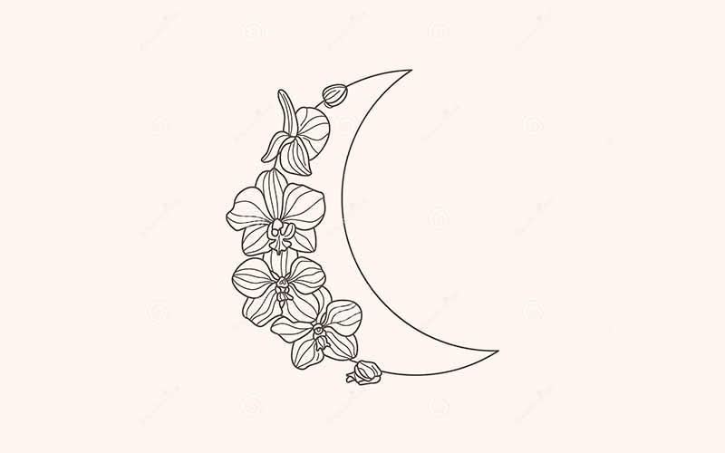 طرح تاتو خام ماه و گل