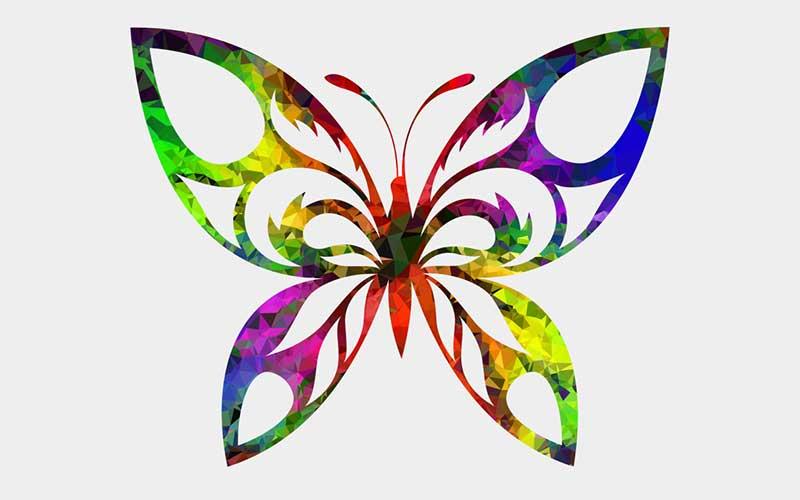 طرح تاتو خام پروانه رنگی