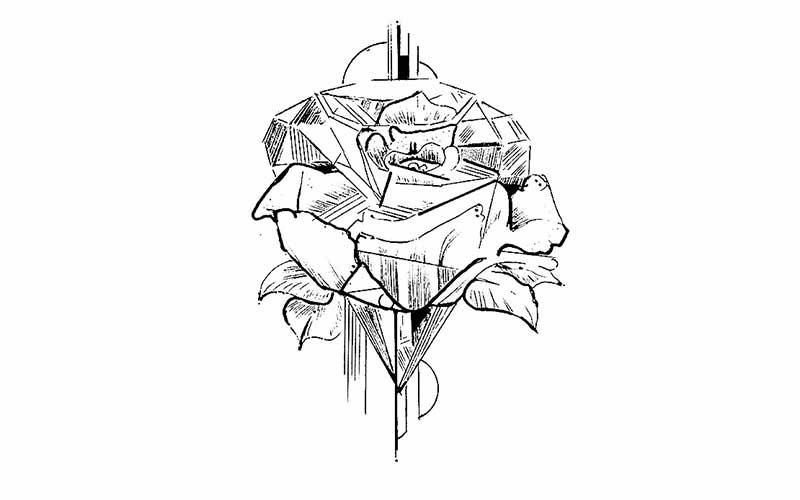 طرح تاتو خام گل