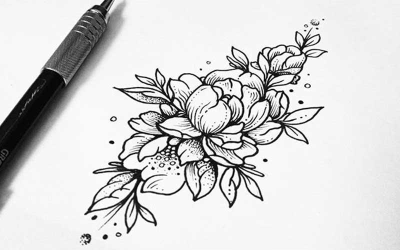 تاتو خام طرح گل