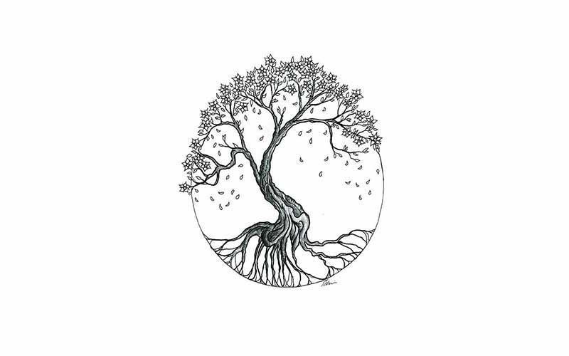 تاتو خام طرح درخت