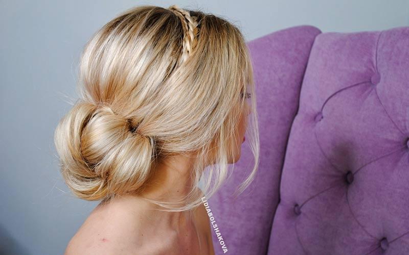 مدل موی ساده عروس با تل بافت