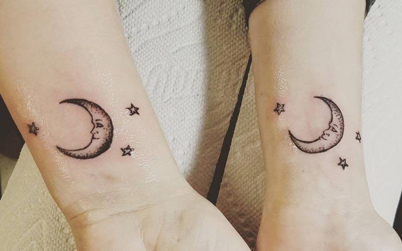طراحی تاتو دونفره ماه و ستاره