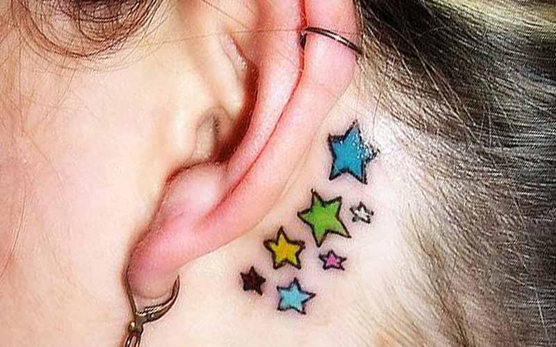طرح تاتو ستاره پشت گوش