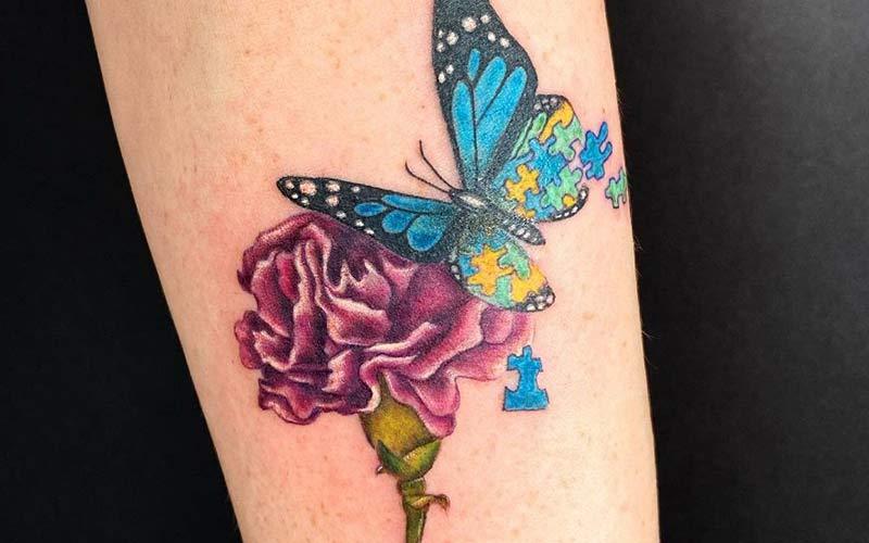 تاتو پروانه به شکل پازل
