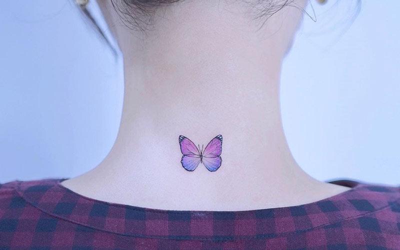 طرح تاتو پروانه رنگی