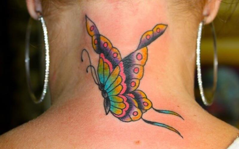 تاتو پروانه پشت گردن