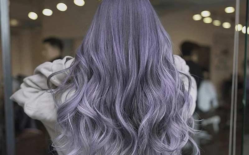 ترکیب رنگ موی بنفش دودی
