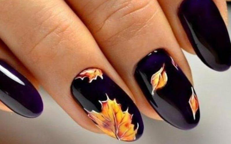 طراحی ناخن پاییزی با لاک ژله ای براق