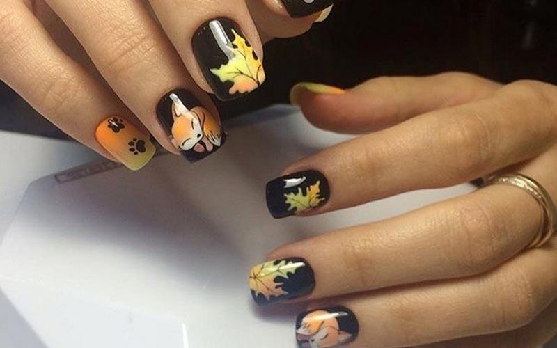 طرح ناخن پاییزی برگ و روباه
