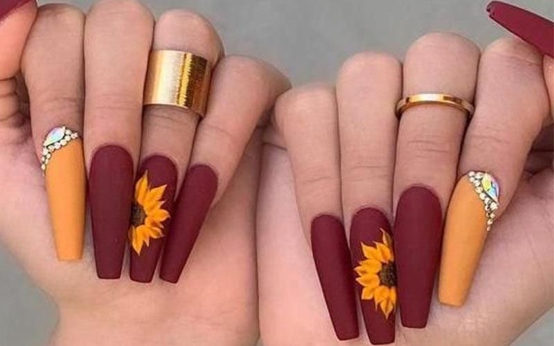 مدل ناخن پاییزی بلند با نگین