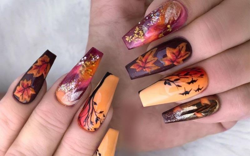 ناخن پاییزی زنانه