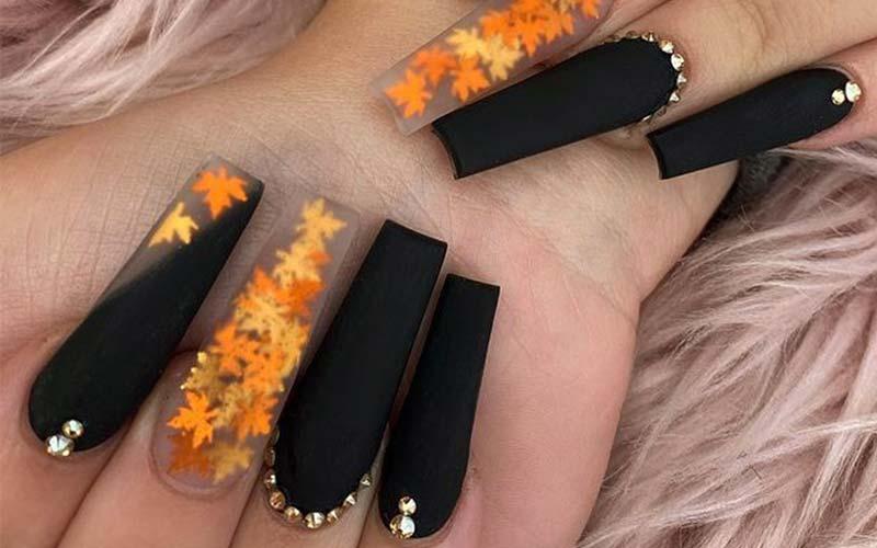 طرح ناخن پاییزی مات