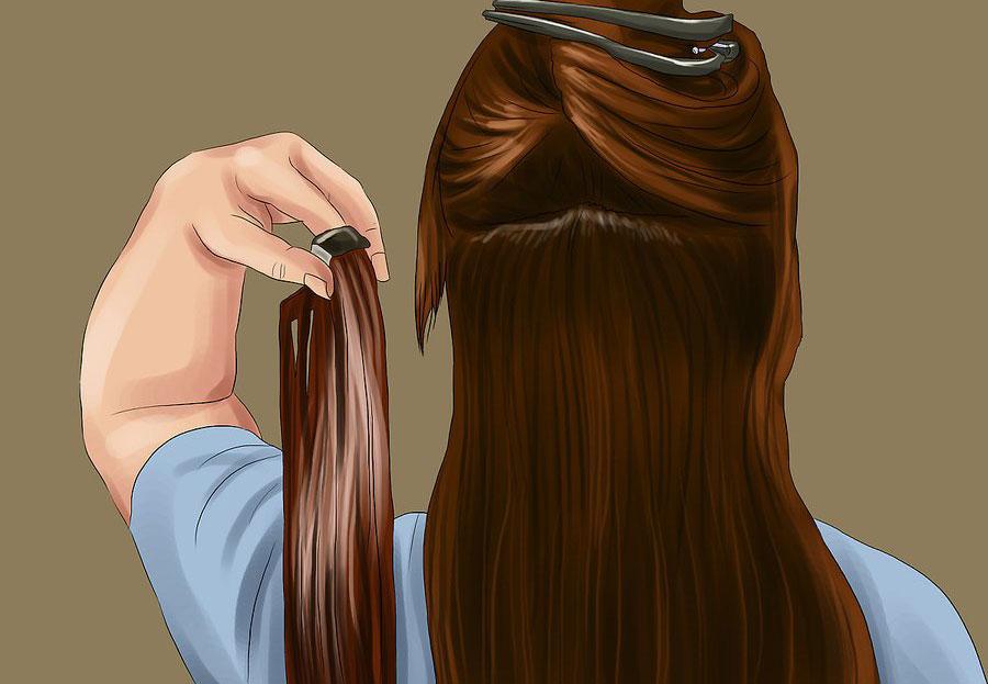 وصل کردن شاخه ای از موها